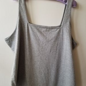 NWOT Grey Square Neck Thong Body Suit